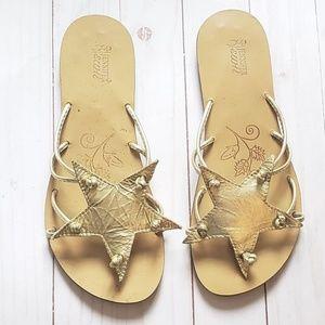 URBAN OUTFITTERS Gold Jennifer Swii Star Sandals 0